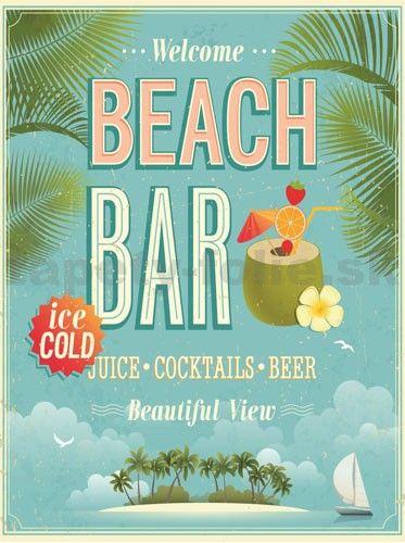 Retro tabula Beach Bar 40 x 30 cm