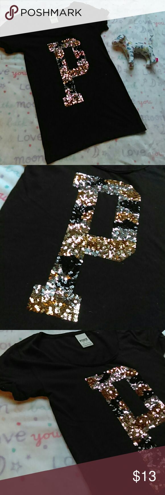 PINK Sequin Tee Black, gold and silver tee. Size extra small. In excellent condition, like new without tags.  Any questions feel free to ask. Thanks for viewing. Happy poshing! PINK Victoria's Secret Tops Tees - Short Sleeve