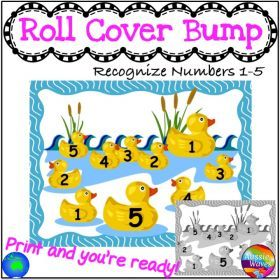 Resource Type :: Games :: Maths Centre Games Learning NUMBERS 1-5 RECOGNITION Roll Cover Bump Fun