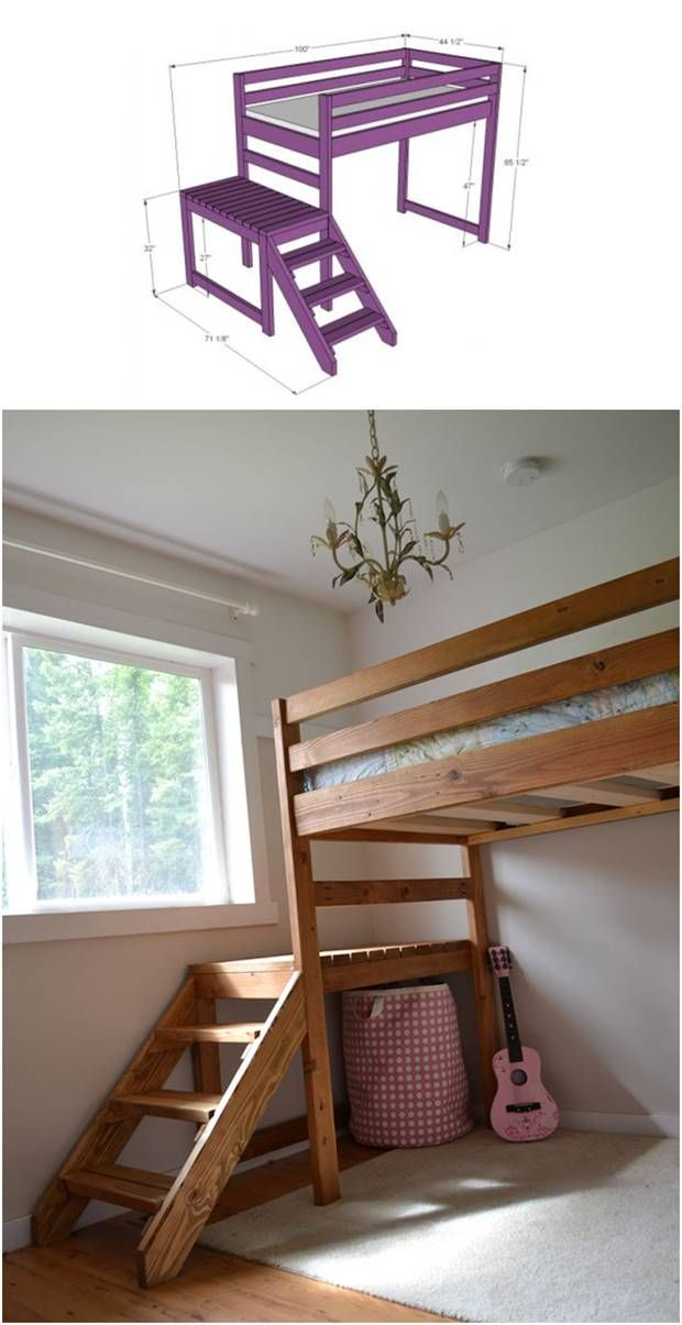 DIY Camp Loft Bed with Stairs #furniture #kids
