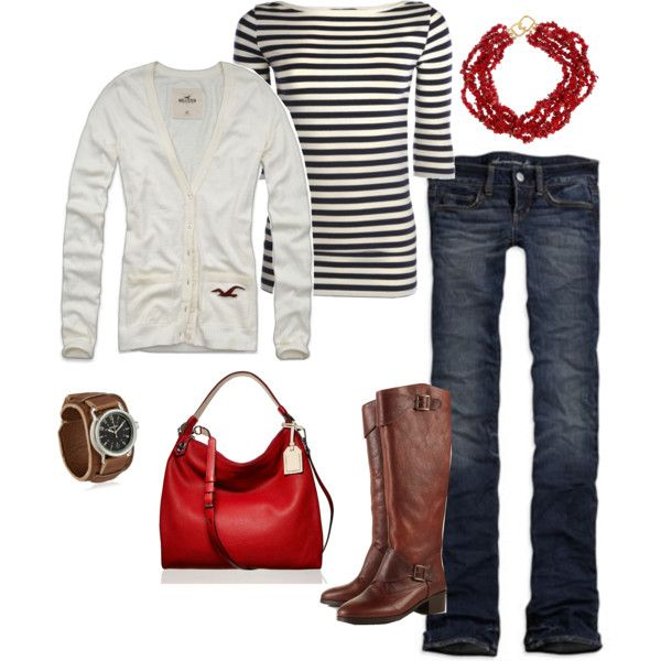 """""""Touch o' Red"""" by fleurdelove on Polyvore: Strips Shirts, Fashion Ideas, Red Pur, Black White, Outfits Ideas, Red Bags, Red White, Red Accent, Red Black"""