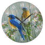 Blue Yellow Birds Cherry Blossom On Wood Pattern Large Clock  #Birds #Blossom #blue #Cherry #Clock #Large #Pattern #RusticClock #Wood #yellow The Rustic Clock