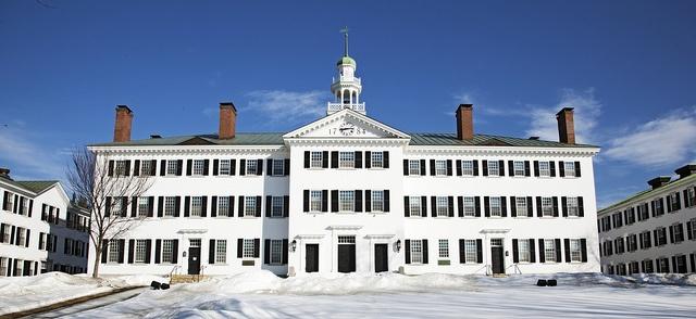 Construction of the original Dartmouth Hall began in 1784 (Dartmouth College, Hanover, NH)