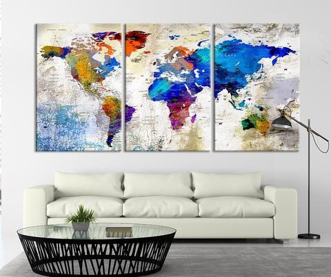 Large Wall Art Push Pin World Map Canvas Print, World Map, Wall Art Canvas, Push Pin Map, Navy Blue Wall Art, Large Wall Art World Map Print