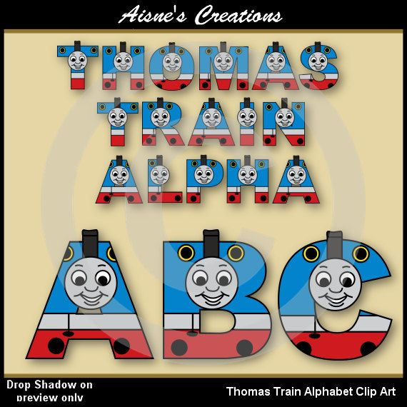 Thomas Train Alphabet/Letters Clip art - also matching numbers available