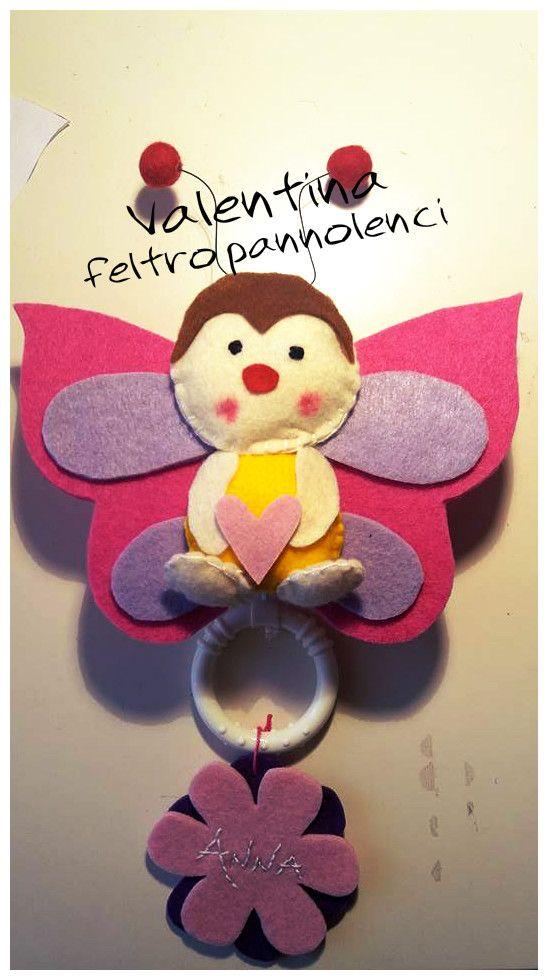Carillon farfalla feltro pannolenci per bambina. Butterfly carillon felt