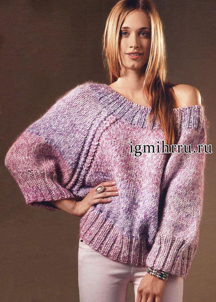 Меланжевый пуловер-реглан со свободным воротом и рукавами летучая мышь, от испанских дизайнеров. Вязание спицами