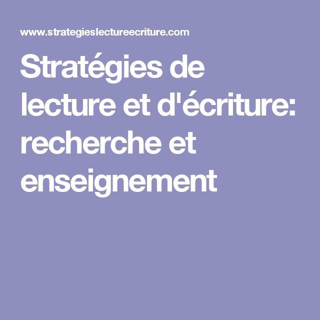 Stratégies de lecture et d'écriture: recherche et enseignement