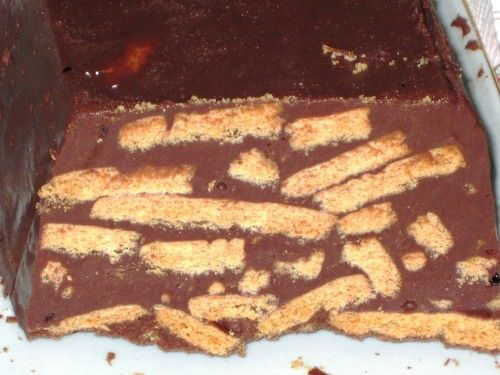 Bolo do Frigorífico / Fridge Cake. Recipe translation - 150g milk chocolate; 200g dark chocolate; 100g butter; 1tsp instant coffee; 1 pinch salt; 1 can (aprox. 400g) sweet condensed milk; 300g digestive cookies. Melt chocolates, butter & salt in low heat. Take out of heat & mix condensed milk & coffee. Mix well untill very smooth. Break cookies into pieces and mix in the batter. Put in fridge in a container lined with baking paper for a few hours. Enjoy! :)