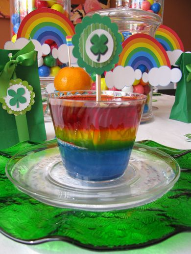 Rainbow jello at a St. Patrick's Day Party #stpatricksday #partyjello