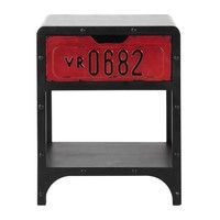 Wooden industrial bedside table with drawer W ... - Road