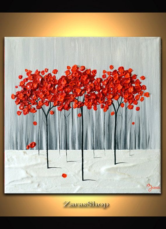 Modern Art 12 x 12 Textured painting, Red Tree Painting, Abstract Landscape, unique wall decor gift