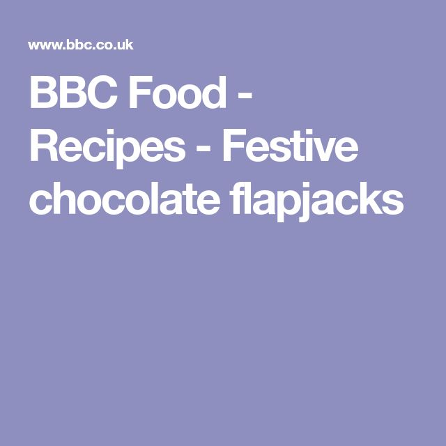 BBC Food - Recipes - Festive chocolate flapjacks