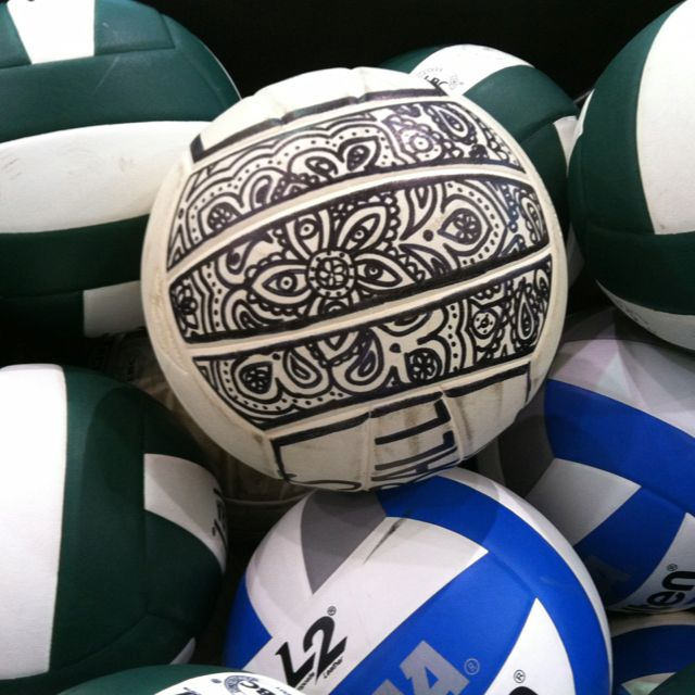 Volleyball... I am so doing this!!! If only I was actually good at doodling. I might give my volleyball to @Trinity Lorrain  so she could do it for me.