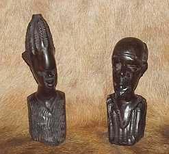 Wooden Ebony couple bust
