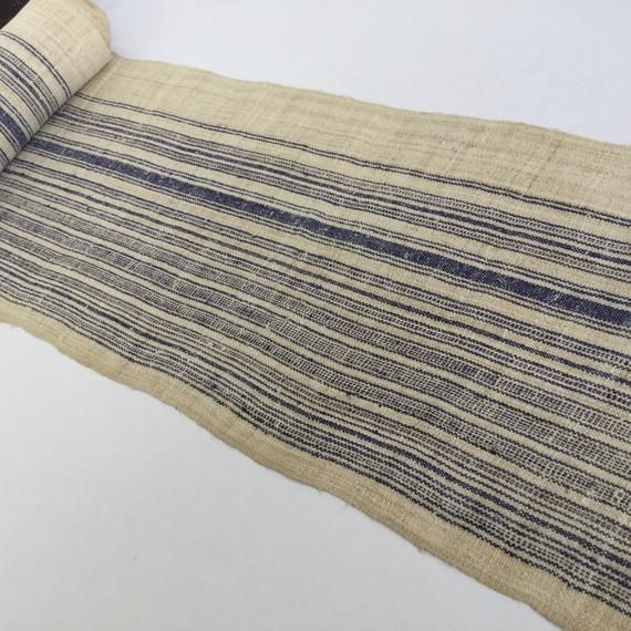 2 Meters long White Natural Hmong hemp fabric,vintage hemp hand dyed Hmong hill tribe -Bed runner ,Table runner from Thailand(W901)   – Products