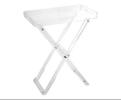Tavolino con vassoio pieghevole in acrilico Plexi trasparente