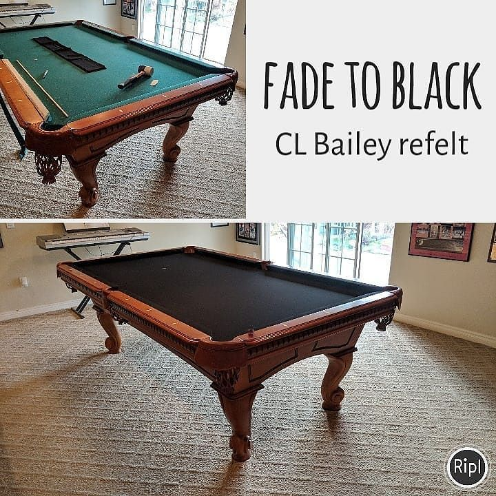 CL Bailey Duchess With Rams Horn With New Black Felt Playpool - Cl bailey pool table