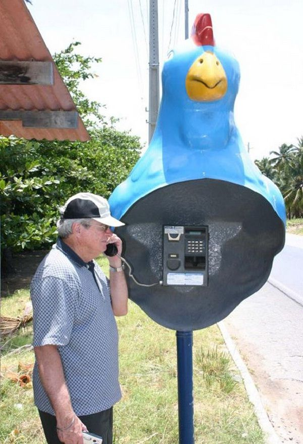 Call the blue rooster!!-Weirdest public phone booths
