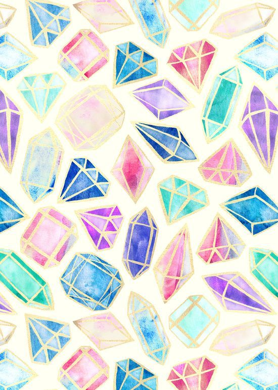 Image result for watercolour crystals tumblr wallpaper