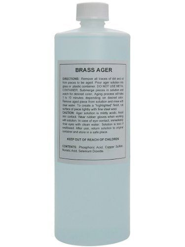 Brass & Bronze Aging Solution - 32 Oz Bottle. Antique Brass Solution. by House of Antique Hardware, Inc.. $20.79. Give new brass or bronze hardware the patina of time with this easy aging solution. Simply submerge the item until the desired level of darkening has occurred. Easily reverisible by polishing, if so desired. Please note, this solution only works on unlacquered metal surfaces. Items with a lacquered finish must be stripped prior to aging. The darkened finish m...