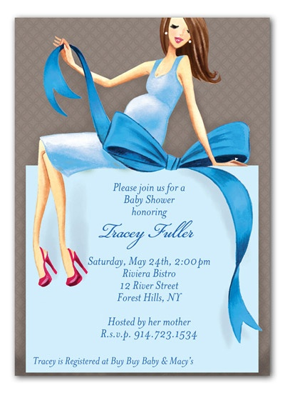 Expecting a Big Gift Boy Brunette Baby Shower Invitation