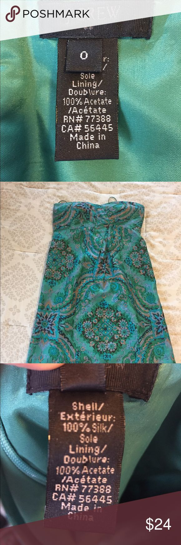 J Crew green paisley silk strapless dress A cute little lightweight spring/summer dress with a silk exterior perfect for a night out or a friends wedding!  Only worn a few times and in excellent condition.  Hits right above the knee. J. Crew Dresses Strapless