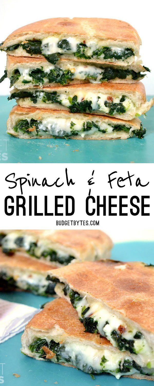 Take your grilled cheese up a notch (or ten) by adding garlic sauteed spinach, feta cheese, and red pepper flakes. BudgetBytes.com
