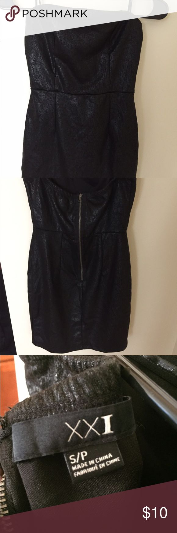 Black and silver mini dress F21. Never worn! NWOT black mini dress from forever 21. Super cute with a silvery sheen and leather like feel.  Make an offer! Forever 21 Dresses Mini