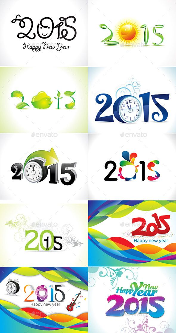 Happy New Year Text Background Set