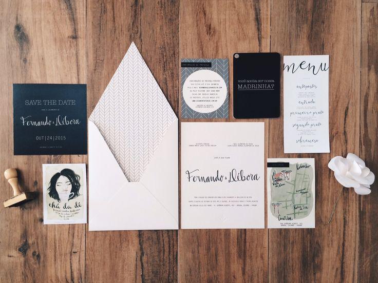 Convites de casamento moderninhos. Papelaria personalizada para casamento. Wedding invitations. Organic Wedding Inspiration.