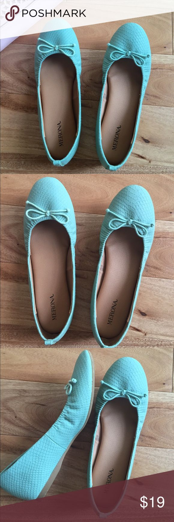 Teal Flat EUC.  I adore this shoes, such pretty PPP of color.  Unfortunately it didn't fit me so rarely worn it.  The footbed is nicely cushioned. Shoes Flats & Loafers