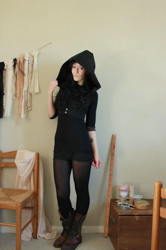 Black harness with hoodie - Steampunk trance tribal dark fashion - Perséphone