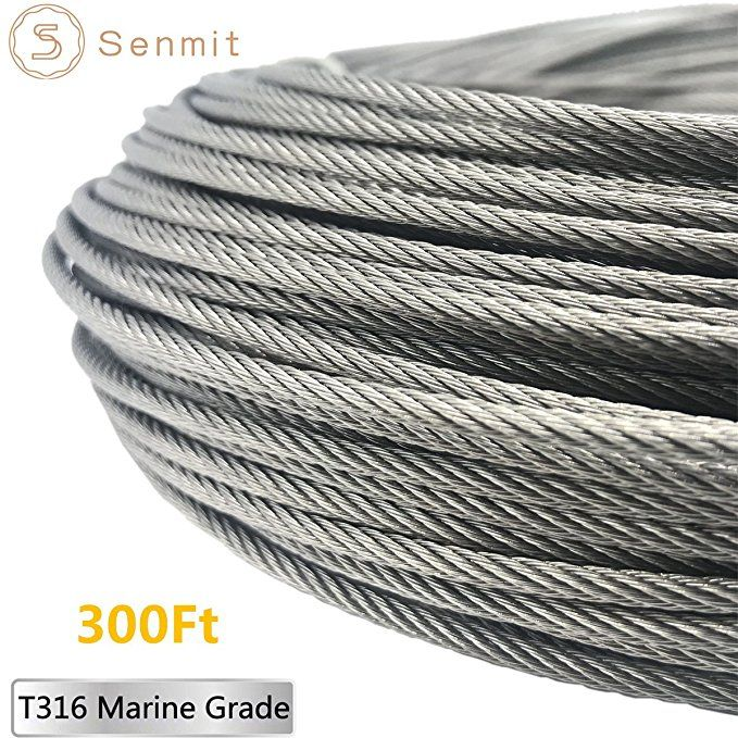Senmit 1 8 Stainless Steel Aircraft Wire Rope For Deck Cable Railing Kit 7x7 300feet T316 Marin Grade Cable Railing Railing Stainless