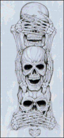Skulls Doing See No Evil Original Cross Stitch Pattern