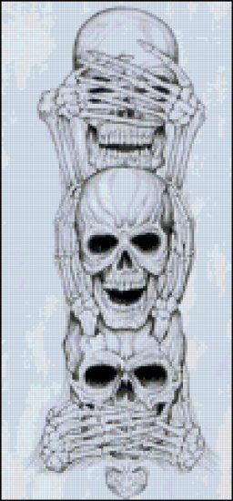 Skulls Doing See No Evil Original Cross Stitch Pattern: