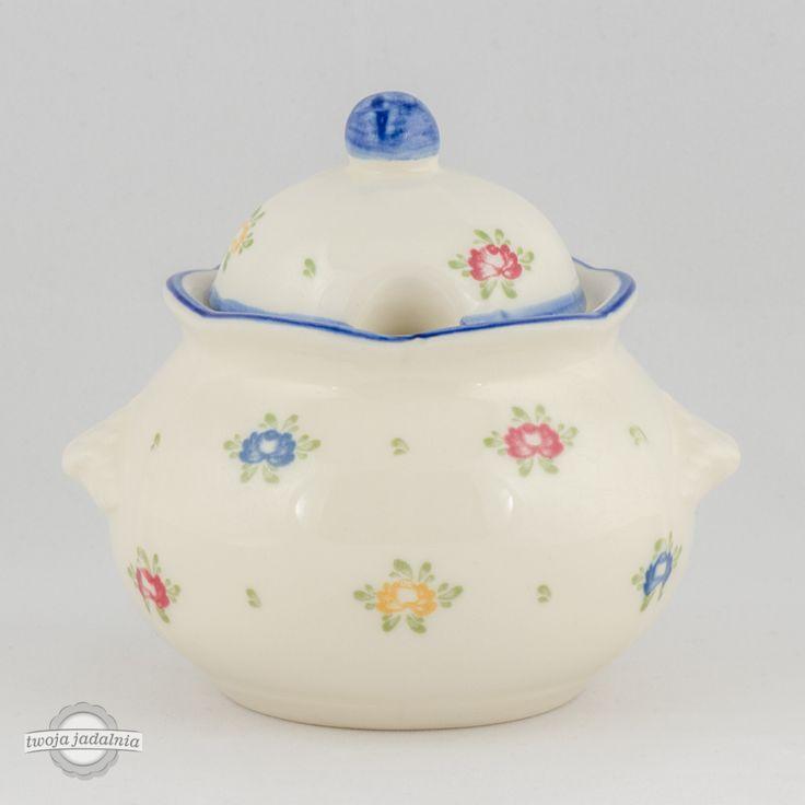 """Cukiernica Zeller Keramik z kolekcji """"Petite Rose"""" zdobiona małymi kolorowymi różyczkami."""