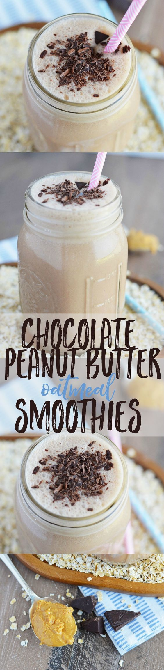 Chocolate Peanut Butter Oatmeal Smoothies from What The Fork Food Blog. These smoothies are healthy, filling, and full of flavors you love - they make a great on-the-go breakfast! | whattheforkfoodbl... | #QuakerSummit #sponsored by @QuakerOats