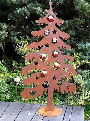 Details zu Edelrost Weihnachtsbaum Tanne Baum Beetstecker Rost Deko 20cm landhaus Christmas