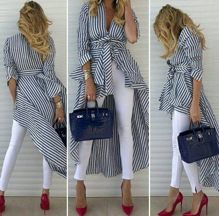 524a9157e women s spring striped shirt dress w belt+white pants+red toe high heels  basic shoes