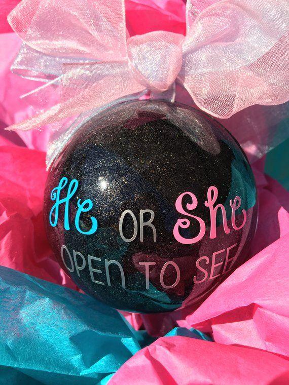 Gender Reveal Pop Apart Glitter Ornament Gender Reveal Idea Etsy Christmas Gender Reveal Gender Reveal Announcement Gender Reveal Gifts
