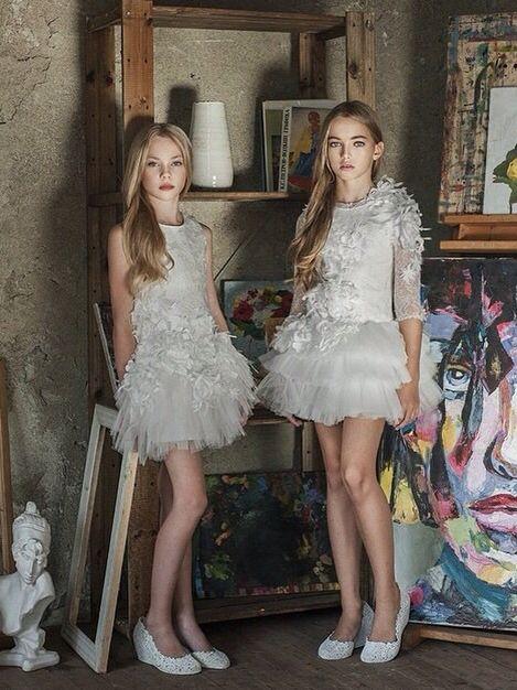 Alina and Anastasia for #mischkaaoki #luxury #kidswear