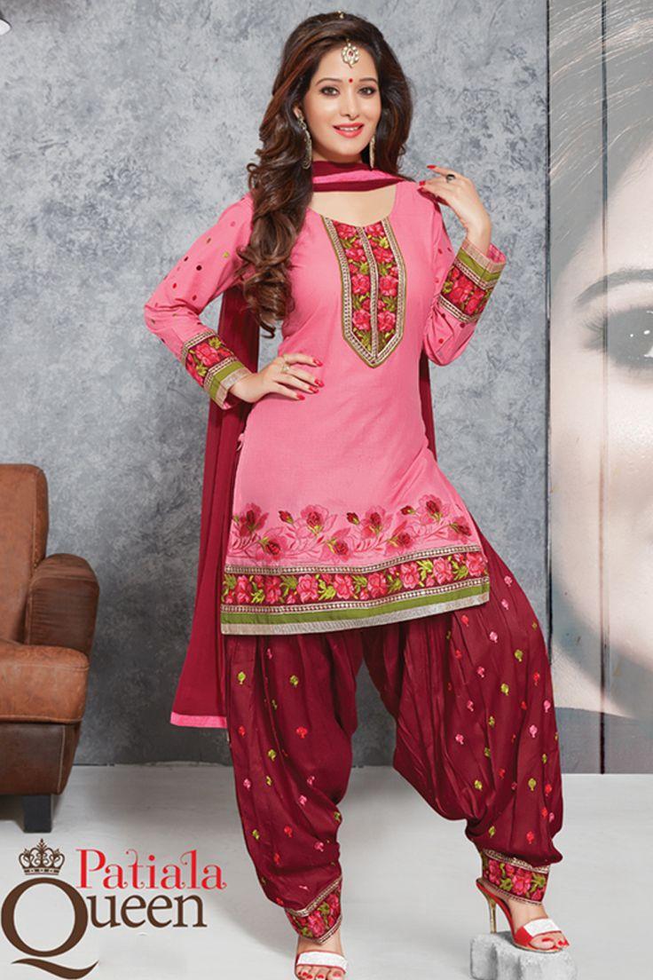 Designer functional wear pink cotton punjabi style patiyala dress with embroidary work...