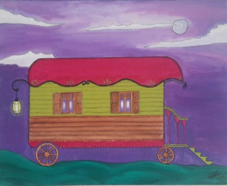 """TABLEAU """" VOYAGE EN ROULOTTE """" : Décorations murales par tocade"""