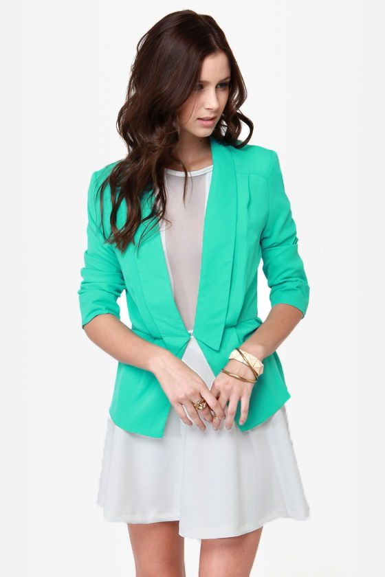 Green Blazer--I know this one is mint, but you could use the basic idea with your blazer. I think one of the cutest looks you is to wear a short blazer with a little dress.