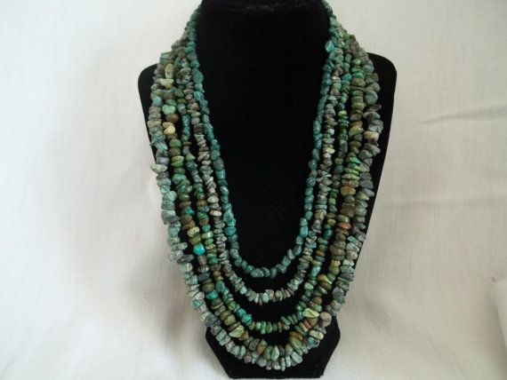5 strand turquoise necklace by Beadit669 on Etsy, $80.00