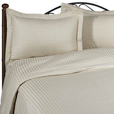 600 Thread Count California King Siberian Goose Down Alternative Comforter [600FP, 50oz] with 100% Egyptian Cotton Stripe Damask Cover - Beige Set Includes Bed Duvet Cover Sheet with TWO Shams (Pillowcases) made of 600 Thread Count 100% Long Staple Egyptian Giza Cotton with Swiss Sateen Finishing by Simply Linens. $224.99. Machine Wash.. Luxury Duvet Cover sheet Set made of Long Staple Egyptian Giza Cotton yarn.. White comforter enclosed in Beige Damask Stripe Califor...