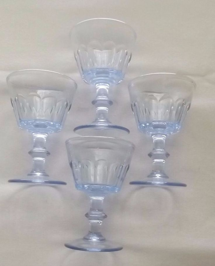 "PALE BLUE GLASS VINTAGE PANELED OPTIC 4"" CORDIAL  JUICE  BRYCE? SET OF 4"