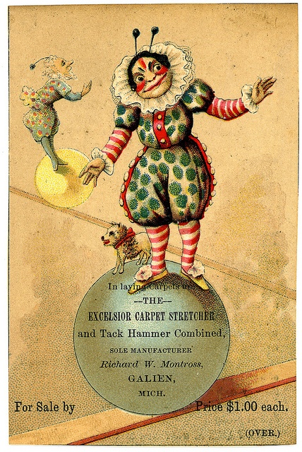 Trade Card for carpet stretcher and tack hamme by gr8plunder, via Flickr