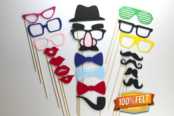 Wedding PhotoBooth Props - 20 Piece Felt Premium Photo Booth Props for a Wedding on Etsy, $35.00